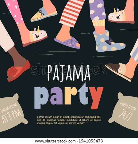 Pajama party poster with fun charaters. Invitation for slumber party. Editable vector illustration Stock photo ©