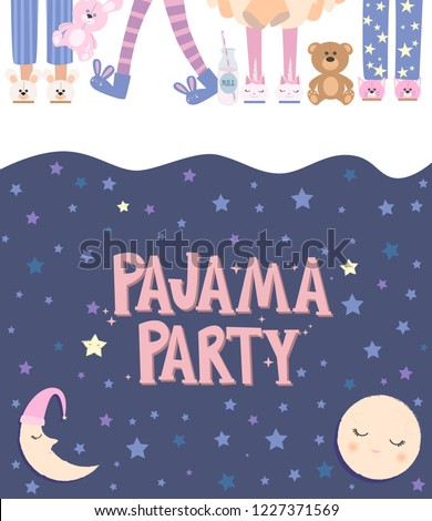 Pajama party poster with fun girls charaters. Invitation for slumber party. Editable vector illustration Stock photo ©