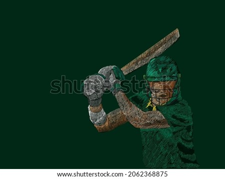 Pakistan Cricket Batter In Playing Pose With Line Pattern On Green Background.