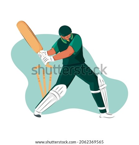 Pakistan Cricket Batter Losing His Wicket On Abstract Background.