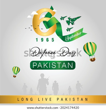 Pakistan Defence Day 6 September Banner. Greeting Card Defence Day Pakistan Army fighter plane Air Balloons Birds Clouds with Green Ribbon on light grey gradient Background