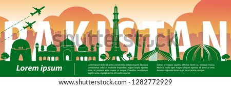 Pakistan famous landmark silhouette style,text within,travel and tourism,vector illustration