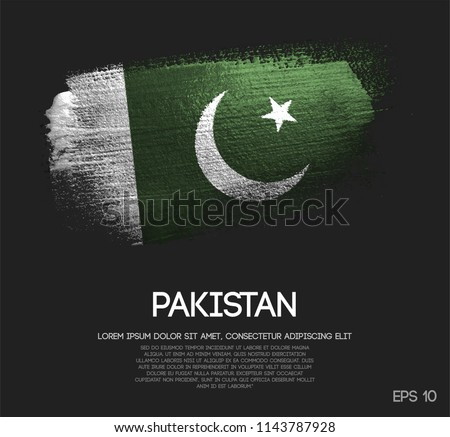 Pakistan Flag Made of Glitter Sparkle Brush Paint Vector