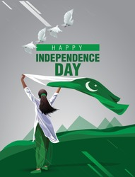 pakistan Girl waving flag her hands. 14 August Happy Independence day celebration concept. can be used as poster or banner design. vector illustration.