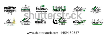 Pakistan Independence day. 14th august  typography set for banner, logo design.