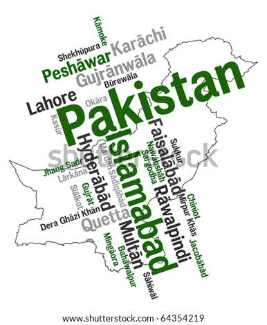 Pakistan map and words cloud with larger cities