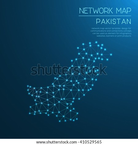 pakistan network map abstract