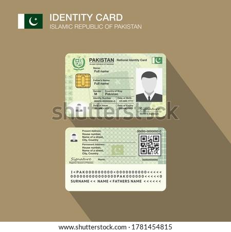 Pakistan's national identity card. Flat vector illustration template. Stock fotó ©