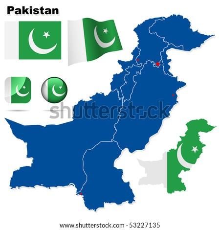 Pakistan vector set. Detailed country shape with region borders, flags and icons isolated on white background.