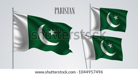 Pakistan waving flag set of vector illustration. White green colors of Pakistan wavy realistic flag as a patriotic symbol
