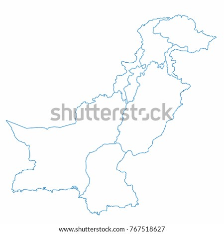 Pakistan World Map Country Outline In Graphic Design Concept Ez Canvas