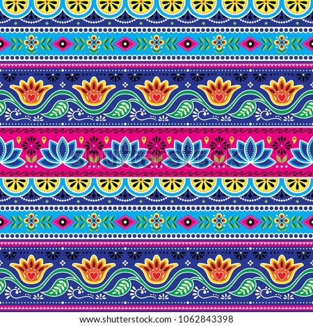 Pakistani truck art vector seamless pattern, Indian truck floral design with lotus flower, leaves and abstract shapes . Colorful repetitive background inspired by traditional lorry and rickshaw painte