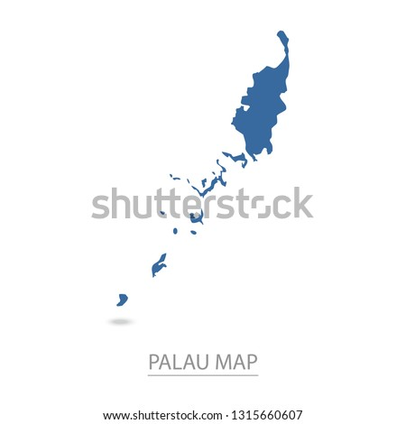 Palau map. Blue Palau map and Country name . Vector map on gray background. Map of Oceania . Eps10.