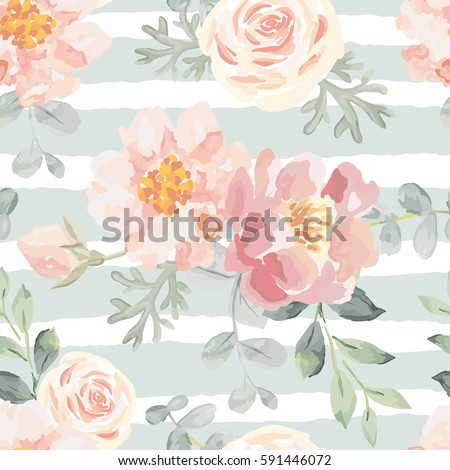 Pale pink roses and peonies with gray leaves on the striped background. Vector seamless pattern. Romantic garden flowers illustration. Faded colors.