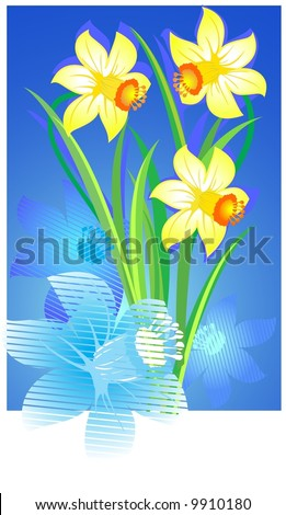 Pale yellow flowers lon a blue background - stock vector