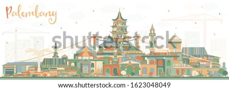 Palembang Indonesia City Skyline with Color Buildings. Vector Illustration. Business Travel and Tourism Concept with Historic Architecture. Palembang Cityscape with Landmarks.