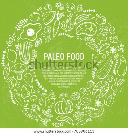 Paleo diet- vector background with text area and handdrawn elements. Can be used as menu template, brochures, flayers, banners, websites. Paleo menu concept.Caveman diet illustration.