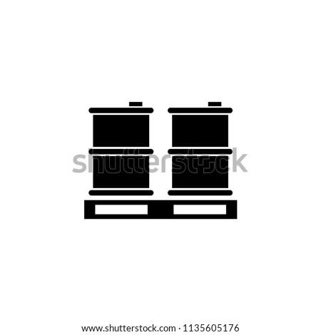 Palette Barrels Oil. Flat Vector Icon illustration. Simple black symbol on white background. Palette Barrels Oil sign design template for web and mobile UI element
