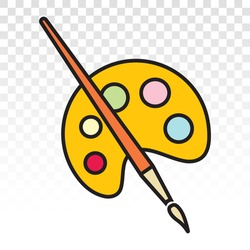 palette paint brush / paintbrush vector icon for apps or website on a transparent background