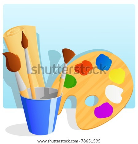 Palette with paint and brushes in bucket and paper scroll with background. Vector illustration