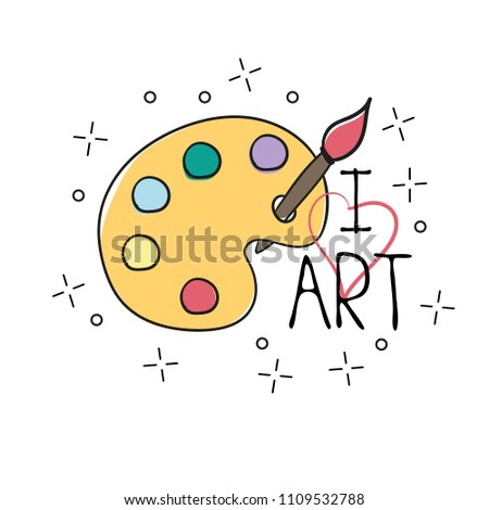 Palette with paint brush hand drawn outline doodle icon. Vector sketch illustration of palette with watercolors and brush for t-shirt print, isolated on white background
