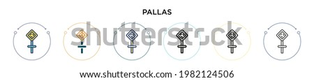 Pallas icon in filled, thin line, outline and stroke style. Vector illustration of two colored and black pallas vector icons designs can be used for mobile, ui, web Foto d'archivio ©