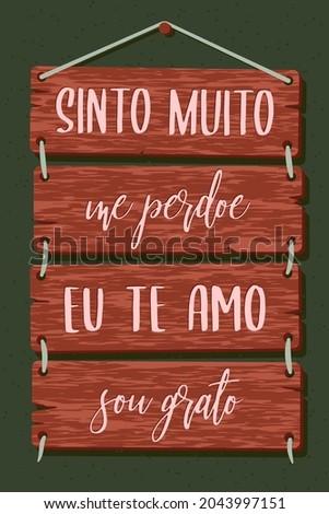Pallet Lettering in Portuguese. Translation: 'I am really sorry' 'Forgive me' 'I love you' 'I'm grateful' Photo stock ©