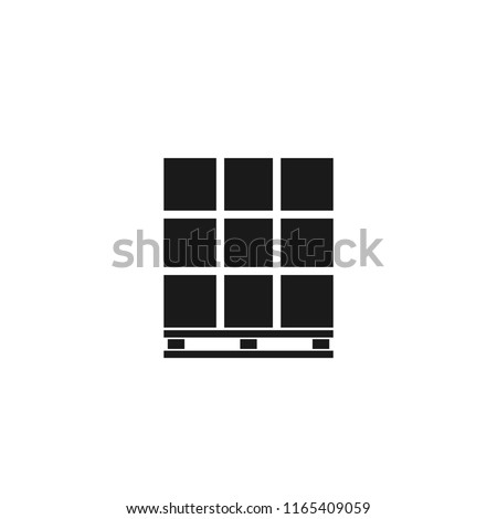 Pallet with boxes silhouette icon. Clipart image isolated on white background
