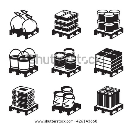 Pallets with building materials - vector illustration