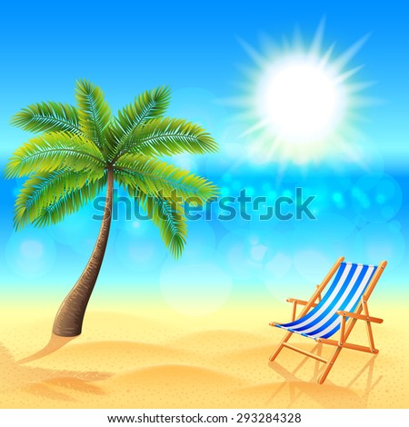 palm and deck chair on sunny