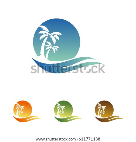 palm and the beach vector logo