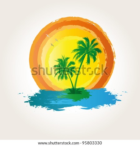 Palm, beach and sun on exotic background