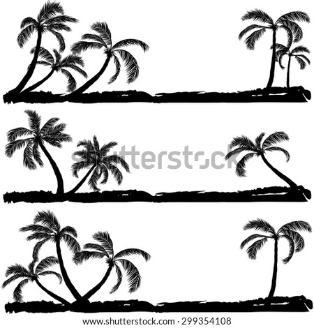 palm black silhouette vector