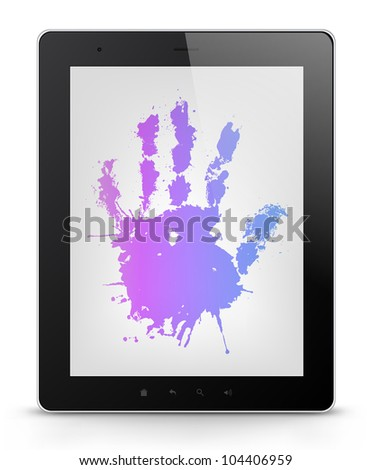 Palm Concept. Tablet PC Isolated on White Background. Vector EPS 10.