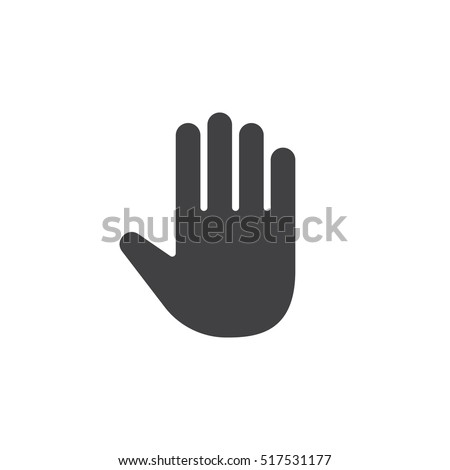 Palm, Hand icon vector, filled flat sign, solid pictogram isolated on white, logo illustration