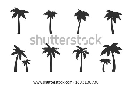 Palm icons set. 8 black palm tree silhouettes isolated on white background. Palms, Coconut icons. Vector illustration
