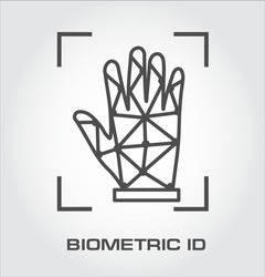 Palm id logo. Biometric identification icons
