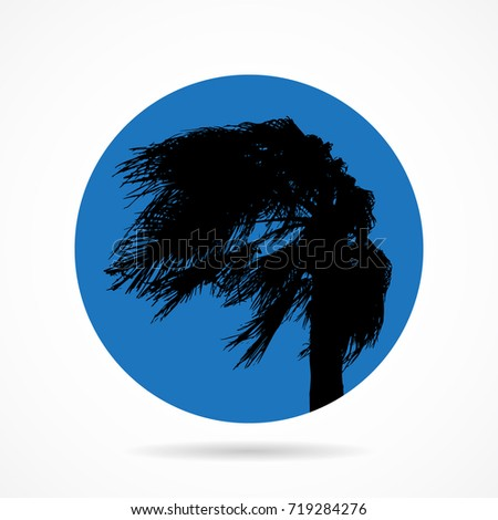 palm in the wind flat icon