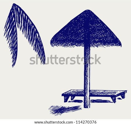 Palm Leaf Beach Umbrella. Doodle style