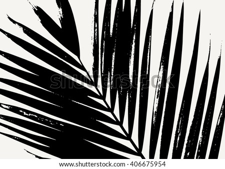 Palm Leaf Silhouette In Black On Cream Background Modern Poster Card Flyer