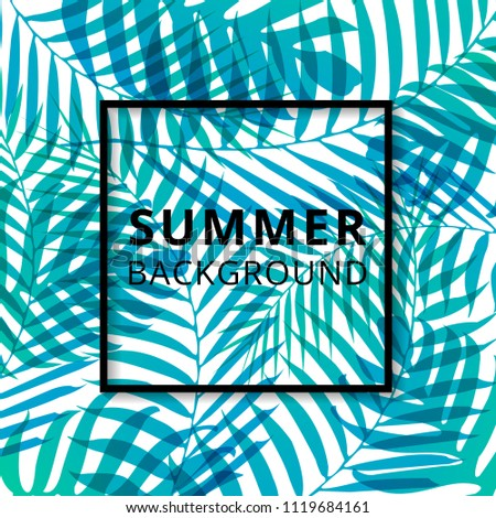 Palm leave pattern summer background. Vector illustration
