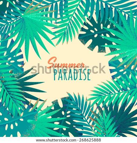 palm leaves frame retro vector