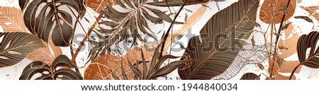 Palm leaves, gold, black, white marble template, artistic covers design, colorful texture, modern backgrounds. Minim pattern, graphic brochure. Luxury illustration