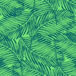 Palm leaves illustration pattern with tropical jungle plant. Vector wallpaper seamless textile in vintage style. Green colors background. Tropical pattern.