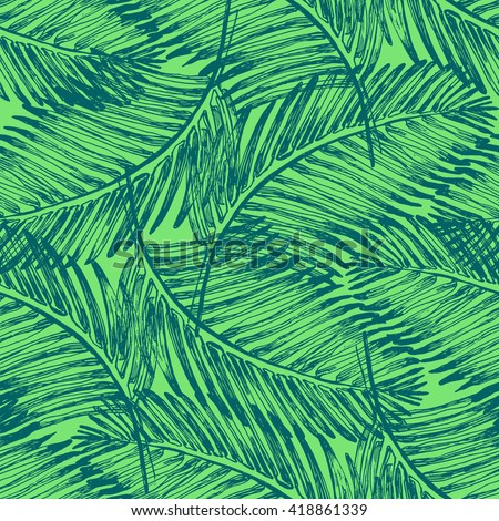 Vector Images Illustrations And Cliparts Palm Leaves Illustration Pattern With Tropical Jungle Plant Vector Wallpaper Seamless Textile In Vintage Style Green Colors Background Tropical Pattern Hqvectors Com Choose from over a million free vectors, clipart graphics, vector art images, design templates, and illustrations created by artists worldwide! palm leaves illustration pattern