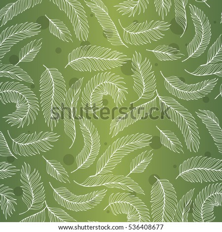 Palm leaves on green background vector seamless pattern