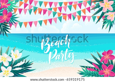 Summer beach party banner flyer template design download free palm leaves pink white frangipani flowers flags tropical beach sky stopboris Images