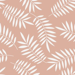 Palm leaves seamless vector pattern. Minimal floral background. Exotic tropical plant leaf print illustration. Summer jungle print. Leaves of palm tree on paint lines.