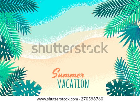 Palm leaves, tropical beach, seascape background. Retro vector illustration. Place for your text