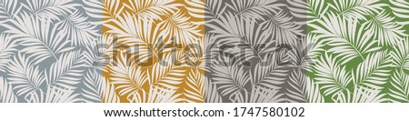 Palm leaves. Tropical seamless background pattern. Graphic design with amazing palm trees suitable for fabrics, packaging, covers. Set of vector posters.